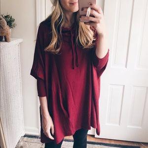 Burgundy shawl with sleeves
